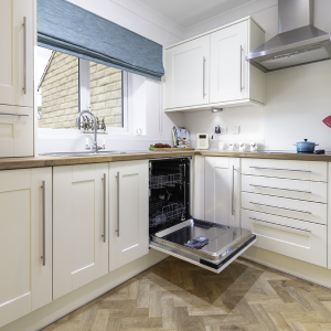 Kitchen with dishwasher open